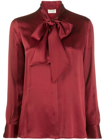 Red Saint Laurent long-sleeve pussy-bow blouse - Farfetch