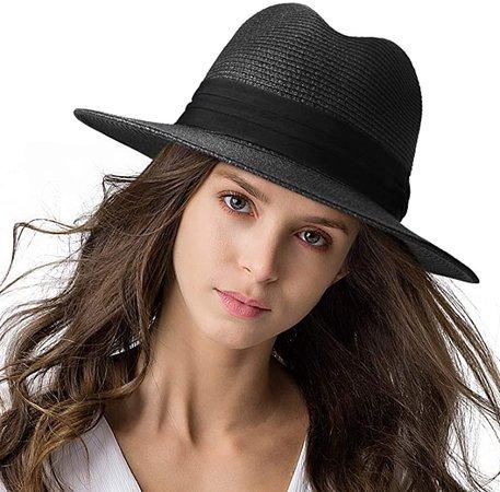 Womens Mens Wide Brim Straw Panama Hat Fedora Summer Beach Sun Hat UPF Black M at Amazon Women's Clothing store