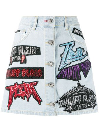 Philipp Plein Rock Patch Mini Skirt - Farfetch
