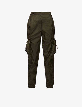 PRADA - High-rise tapered recycled-woven trousers | Selfridges.com