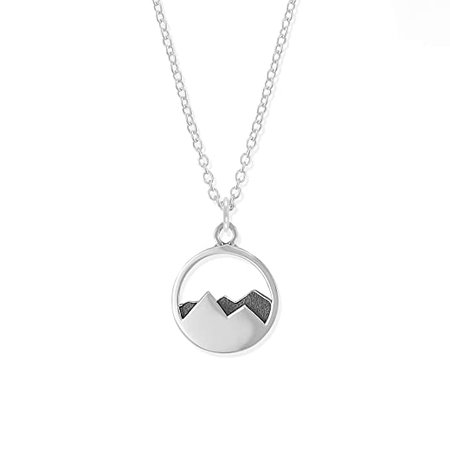 Amazon.com: Boma Jewelry Sterling Silver Mountain Range Peak Circle Pendant Necklace, 18 Inches: Jewelry