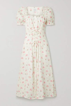 Sleeper - Marquise Lace-up Floral-print Linen Midi Dress - Pink
