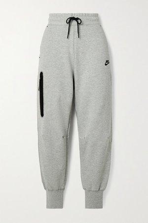 Cotton-blend Jersey Track Pants - Gray