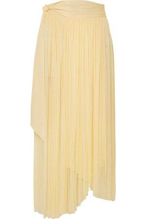 Elena Makri   Delfis asymmetric pleated silk-tulle midi skirt   NET-A-PORTER.COM