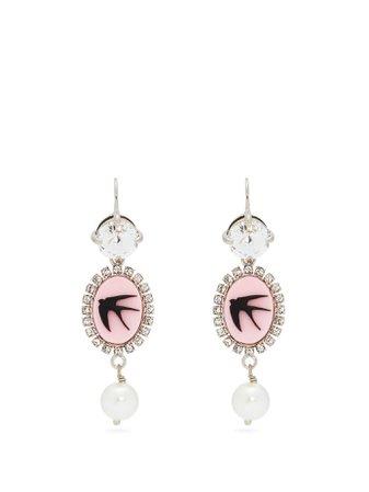 Crystal and faux-pearl cameo drop earrings | Miu Miu | MATCHESFASHION.COM