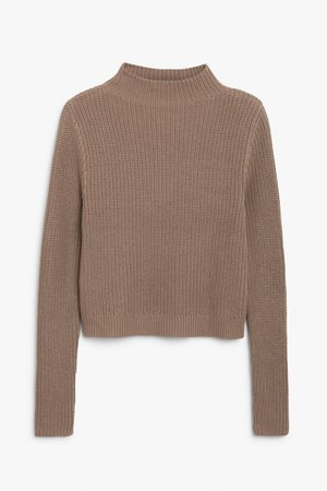 Low turtleneck knit - Beige - Jumpers - Monki WW