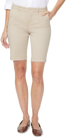 Stretch Cotton Blend Twill Bermuda Shorts