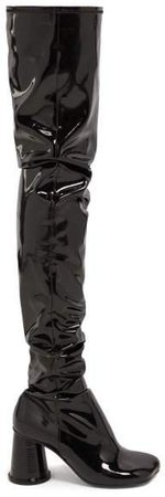 Cup Heel Over The Knee Patent Leather Boots - Womens - Black