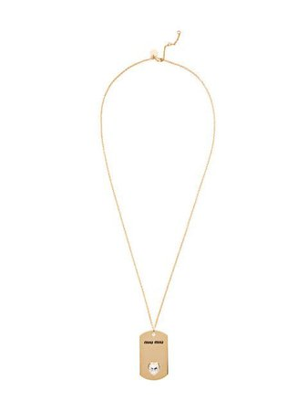 Miu Miu Embellished Dog Tag Necklace