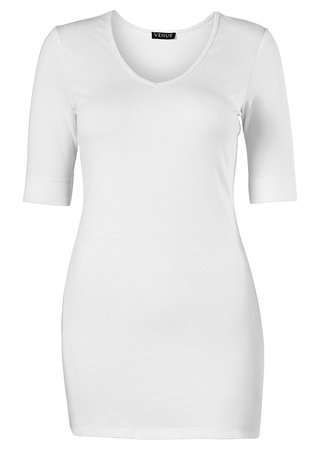 Long And Lean V-Neck Tee in White   VENUS