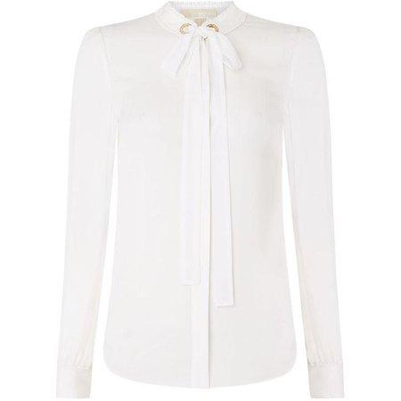 Hardwear detail tiw neck silk blouse - House of Fraser