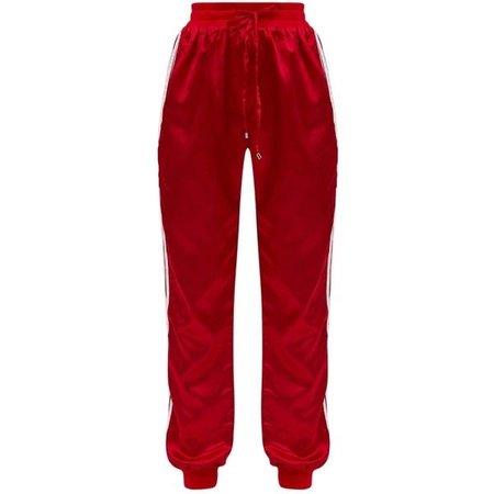 Red Satin Sporty Trim Joggers ($35)