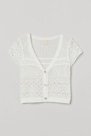 Crochet Top - White - Ladies | H&M US