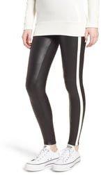 Side Stripe Faux Leather Leggings