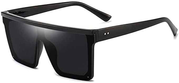 Amazon.com: Square Oversized Sunglasses for Women Men Fashion Flat Top Big Black Frame Shades Dollger Black: Clothing