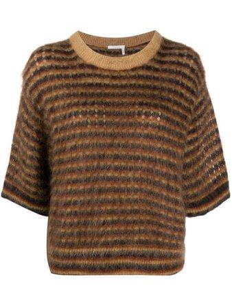 Chloé crop-sleeve Striped Jumper - Farfetch