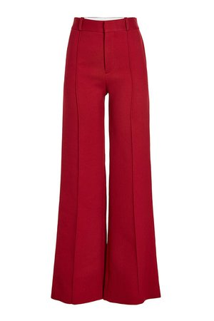 See by Chloé - Wide Leg Pants with Cotton - red