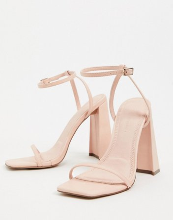 ASOS DESIGN Niche barely there block heeled sandals in peach | ASOS