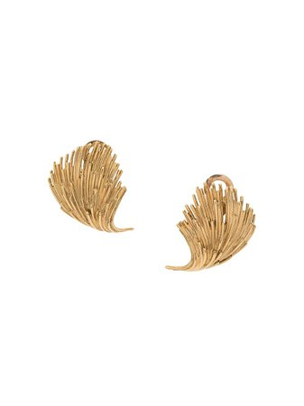 Pre-owned 1960's 18Kt Gold French Leaf Earrings Vintage