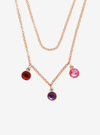 Disney Beauty And The Beast Rose Gem Layered Necklace