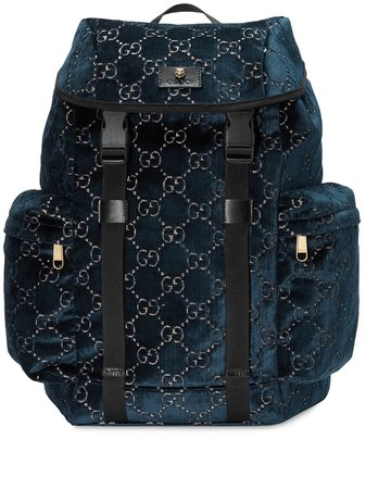 Blue Gucci Medium Gg Velvet Backpack | Farfetch.com