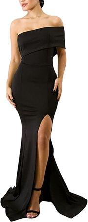 Amazon.com: ZKESS Women's Sexy Gown Dresses Fishtail Side Split Party Long Dress Black L: Clothing
