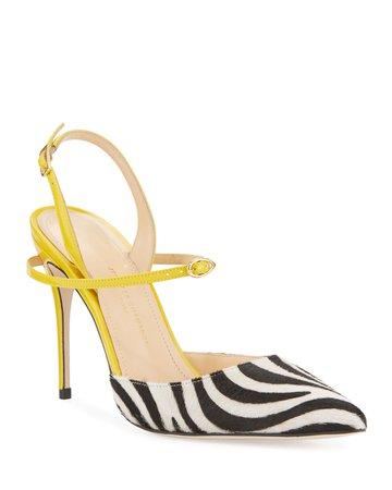Jennifer Chamandi Vittorio Zebra Slingback Pumps   Neiman Marcus