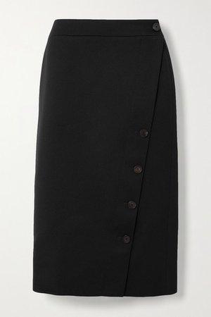 Wool-twill Midi Skirt - Black