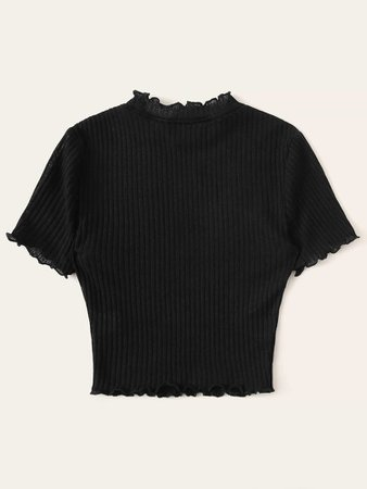Plus Lettuce Trim Rib-knit Fitted Top | SHEIN USA