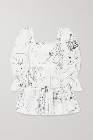 Ivory Tiered printed cotton mini dress | Alexander McQueen | NET-A-PORTER