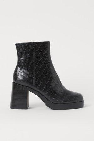 Block-heeled Ankle Boots - Black - Ladies | H&M US