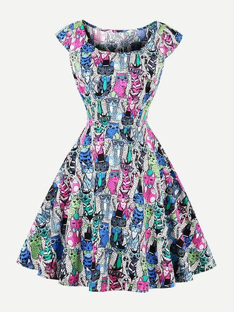 Scoop Neck Cat Print Dress