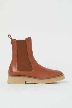 Leather Chelsea Boots - Orange