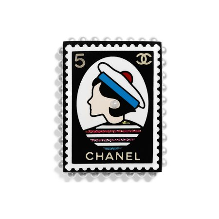Metal, Glass & Resin Gold, Pearly White, Black, Red & Blue Brooch | CHANEL