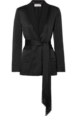 Rachel Zoe | Roarke belted grosgrain-trimmed satin blazer | NET-A-PORTER.COM
