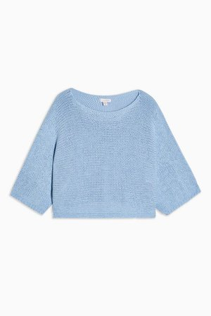 Pale Blue Oversized Crop Knitted Top   Topshop