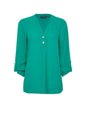 Green Roll Sleeve Button Top | Dorothy Perkins