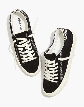 Sidewalk Low-Top Sneakers in Suede and Spot Calf Hair