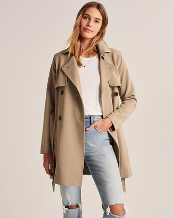 Womens Drapey Trench Coat   Womens Coats & Jackets   Abercrombie.com