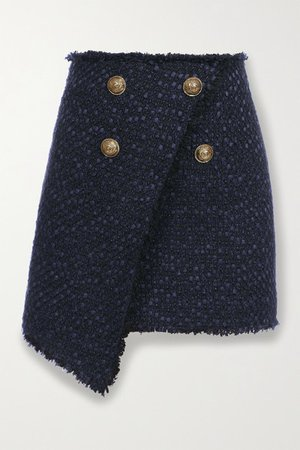 Button-embellished Asymmetric Tweed Mini Skirt - Navy