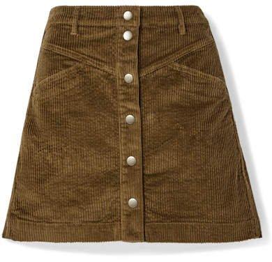 Cotton-blend Corduroy Mini Skirt - Dark green