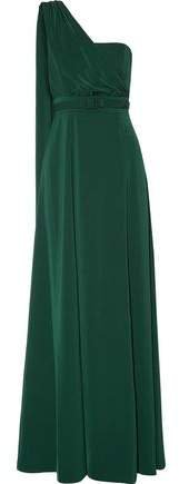 Aghal One-shoulder Draped Cady Gown