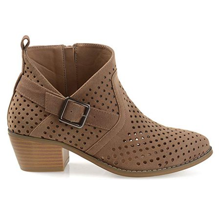 Amazon.com | Brinley Co. Womens Perforated Faux Suede Stacked Heel Asymmetrical Booties | Ankle & Bootie