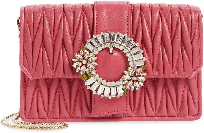 Embellished Matelasse Leather Crossbody Bag