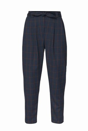 PAISIE - Checked Peg Leg Trousers In Navy & Brown With Self Belt