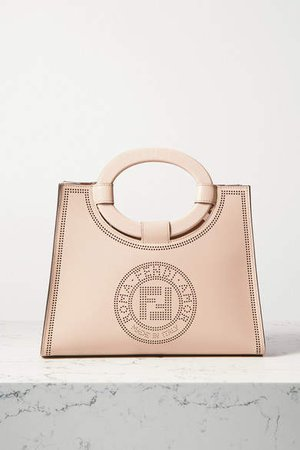 Runaway Small Perforated Leather Tote - Neutral