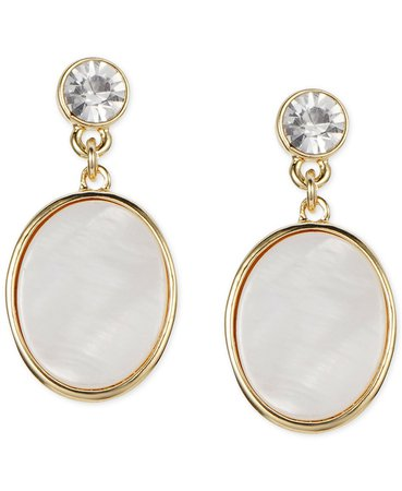 Charter Club Gold-Tone Shell & Crystal Drop Earrings, Created for Macy's & Reviews - Earrings - Jewelry & Watches - Macy's