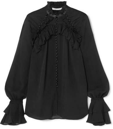 Satin-trimmed Ruffled Silk-georgette Blouse - Black