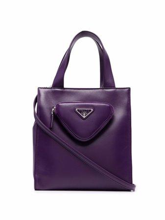 Prada triangle logo pouch tote bag - FARFETCH