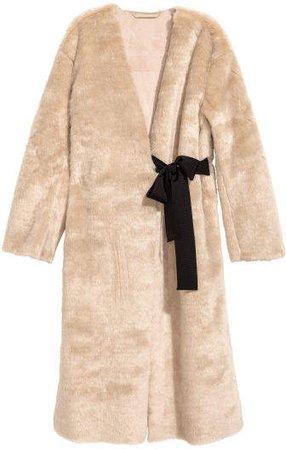 Faux Fur Coat - Beige